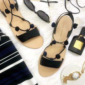 Loeffler Randall Black Lace Up Pom Pom Sandals